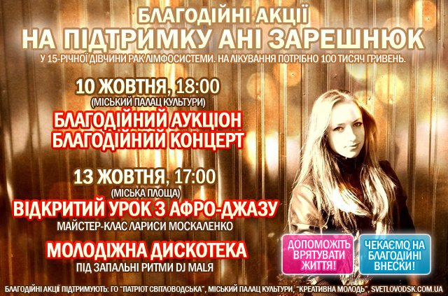 Благодійні акції на підтримку Ані Зарешнюк